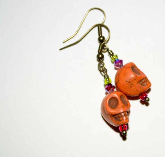 Orange Skull Drop Earrings, Skull Earrings, Day Of The Dead Jewelry, Dia De Los Muertos, Skull Jewelry, Bright Skulls, Orange Drop Earrings