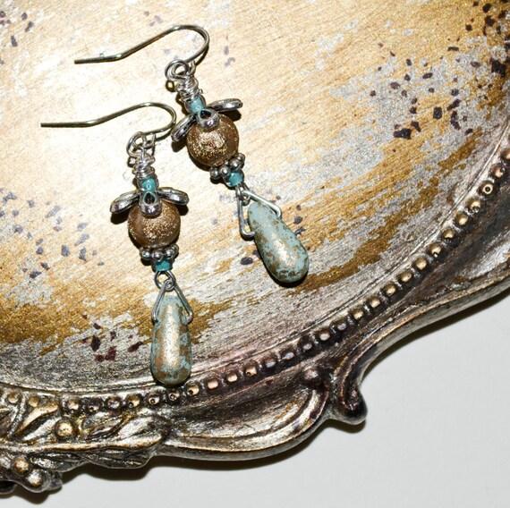 Dangle Earrings, Czech Glass Golden Moss Teardrop Bead Earrings, Pretty Earrings, Pale Mint Green, Ladies Silver Drop Earrings, Green Gold