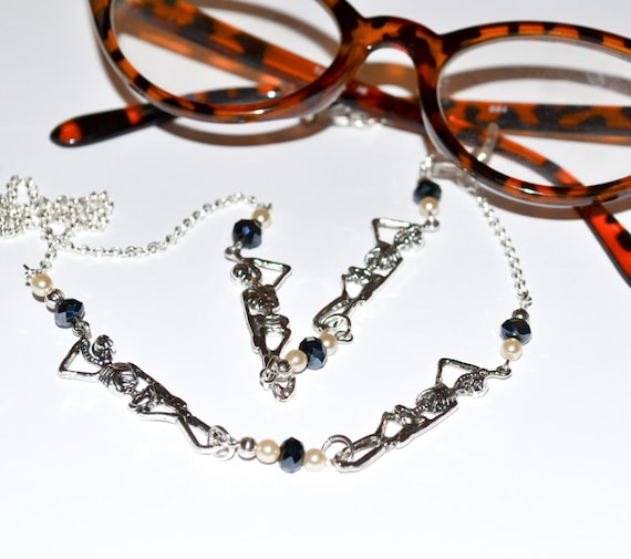 Skeleton Glasses Chain - Blue-Black / Pearl