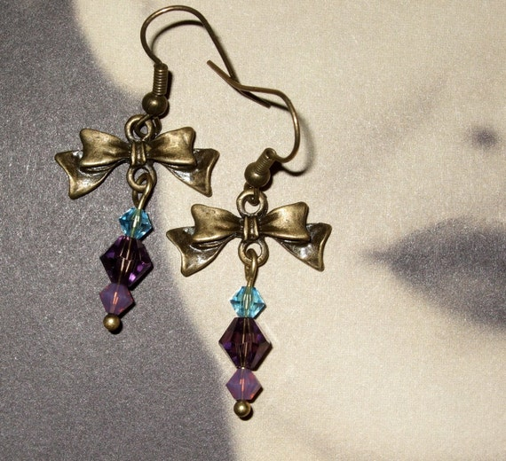Bow Earrings, Purple Earrings, Bow Charm Jewelry, Dangle Earrings, Drop Earrings, Bronze Bow Charm, Purple and Blue, Pretty Earrings, Beaded