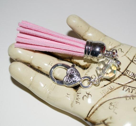 Purse Clip, Baby Pink Tassel Keyring, Boho Tassel Clip, Tassel Key Charm, Zip Pull, Purse Charm, Bag Charm, Tassel Zip Pull, Boho Bag Charm
