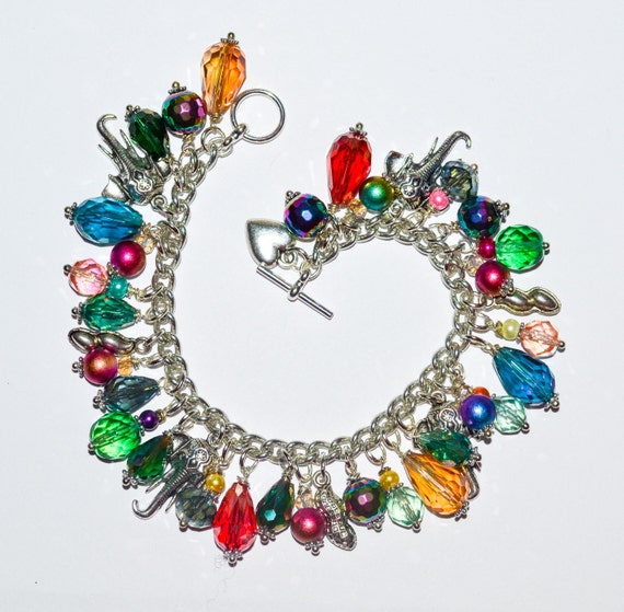 Bright Beaded Elephant Charm Bracelet