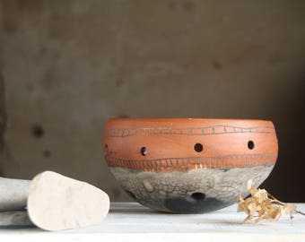 Ceramic fruit bowl. Ceramic berry colander. Raku pottery.