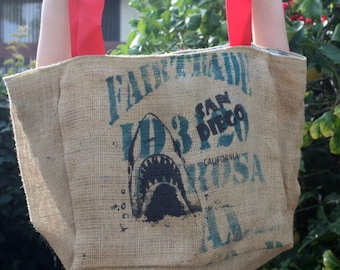 San Diego Shark Shopping Bag SALE / Burlap Beach Bag Tropical lining / One of a Kind Shark Bag