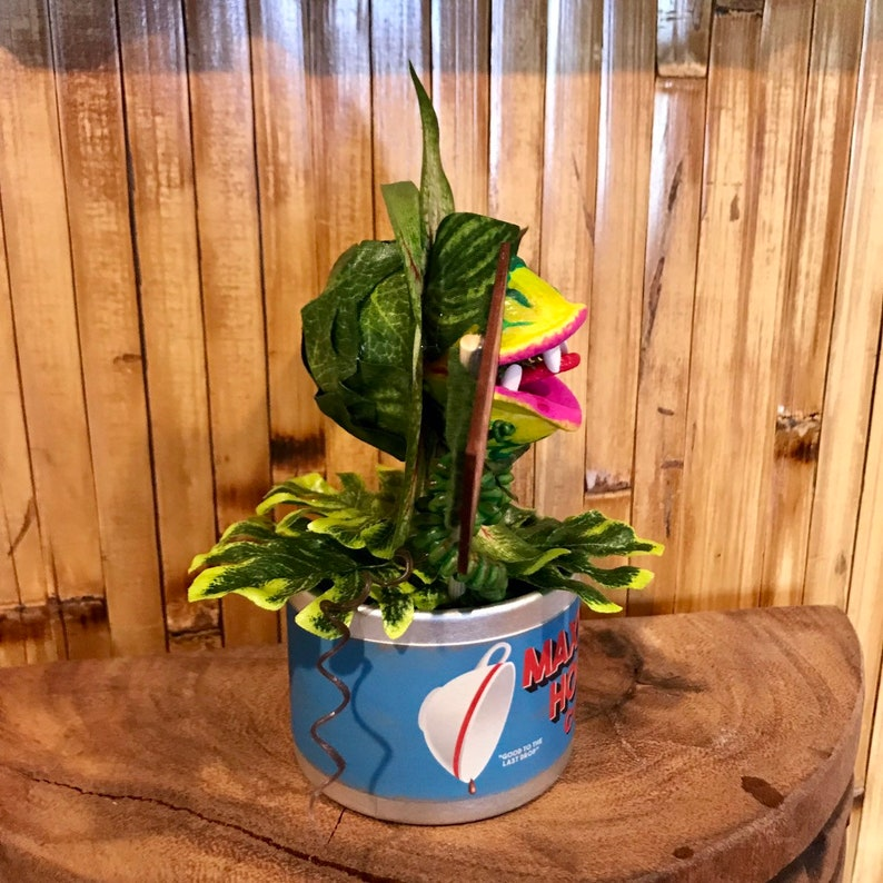 Little Shop of Horrors Audrey 2 Coffee Can Sculpture 6 inches Tall Disney Feed Me Seymour Venus Flytrap for Tiki Oasis Halloween
