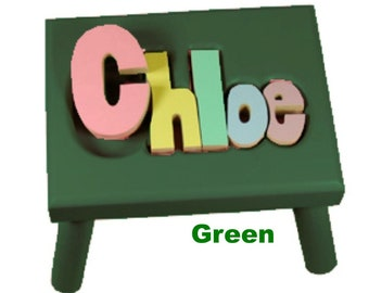 """GREEN Name Puzzle Stools (""""FREE"""" Shipping)"""