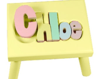 """SOFT YELLOW Name Puzzle Stools (""""FREE"""" Shipping)"""