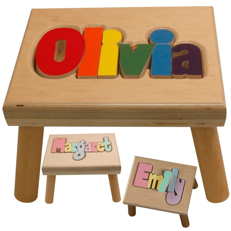 Natural Name Puzzle Stool FREE Shipping Will image 0