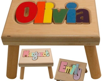 """Natural Name Puzzle Stool (""""FREE"""" Shipping) (Put Child's Name in Notes to Seller on Checkout Page)"""