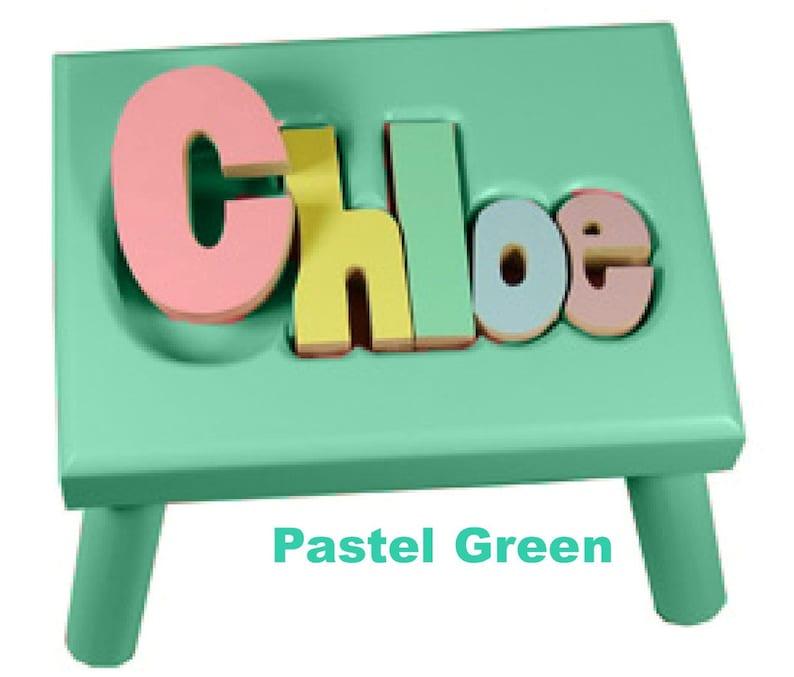 Pastel GREEN Name Puzzle Stools FREE Shipping image 0