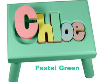 """PASTEL GREEN Name Puzzle Stools (""""FREE"""" Shipping)"""