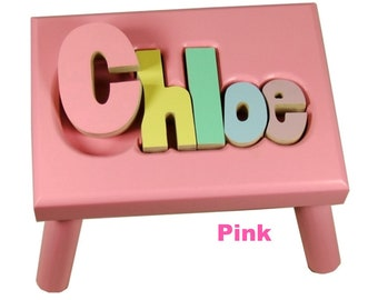 """PINK Name Puzzle Stools (""""FREE"""" Shipping)"""