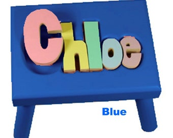 """BLUE Name Puzzle Stools (""""FREE"""" Shipping)"""