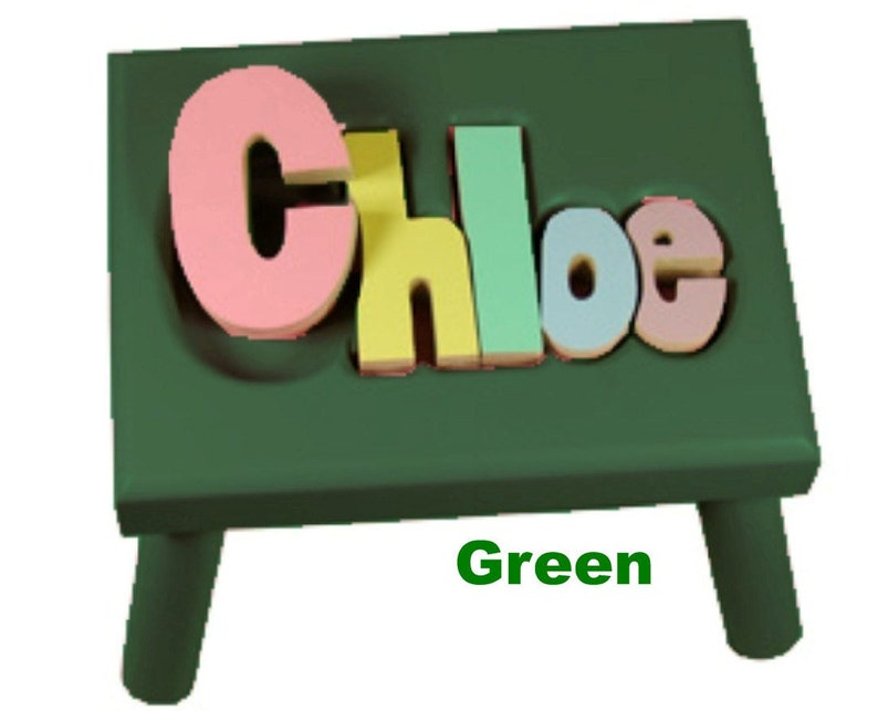 GREEN Name Puzzle Stools FREE Shipping image 0