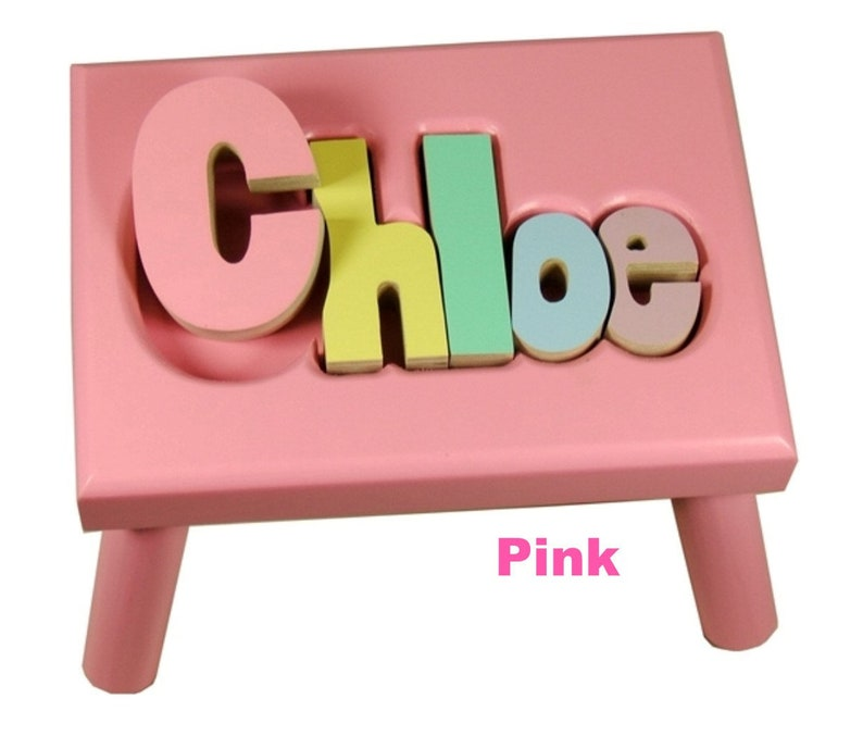 PINK Name Puzzle Stools FREE Shipping image 0