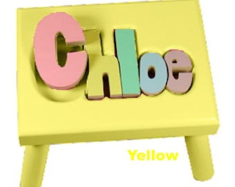 """YELLOW Name Puzzle Stools (""""FREE"""" Shipping)"""