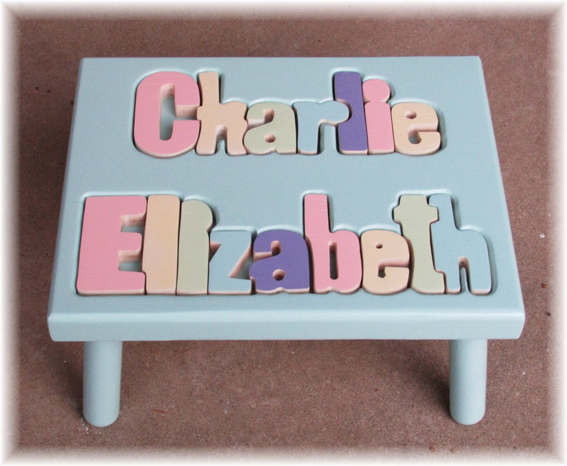 Two Lines Two Names Puzzle Stool FREE Shipping image 0