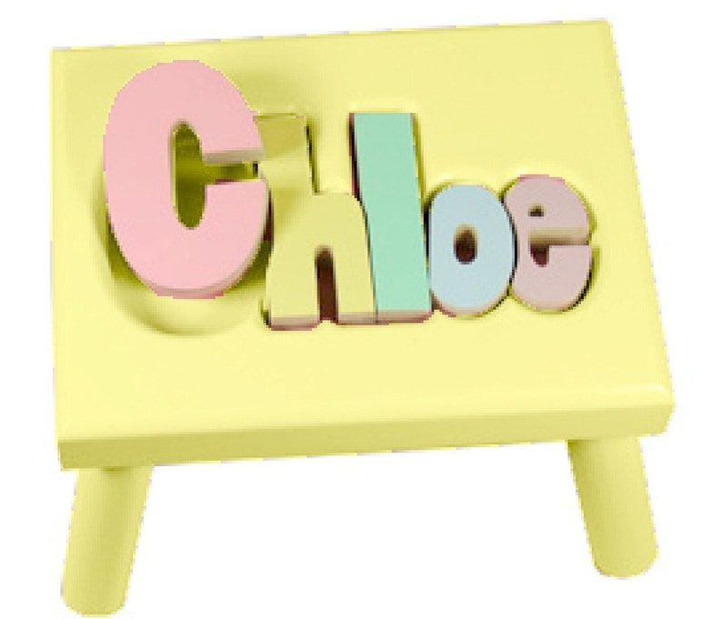 Pastel YELLOW Name Puzzle Stools FREE Shipping image 0