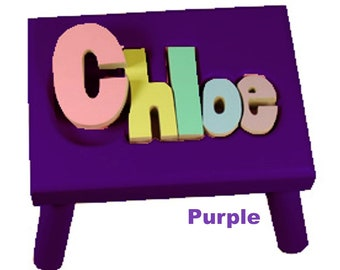"""PURPLE Name Puzzle Stools (""""FREE"""" Shipping)"""