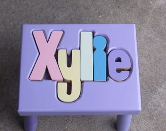 """LAVENDER Name Puzzle Stools (""""FREE"""" Shipping)"""