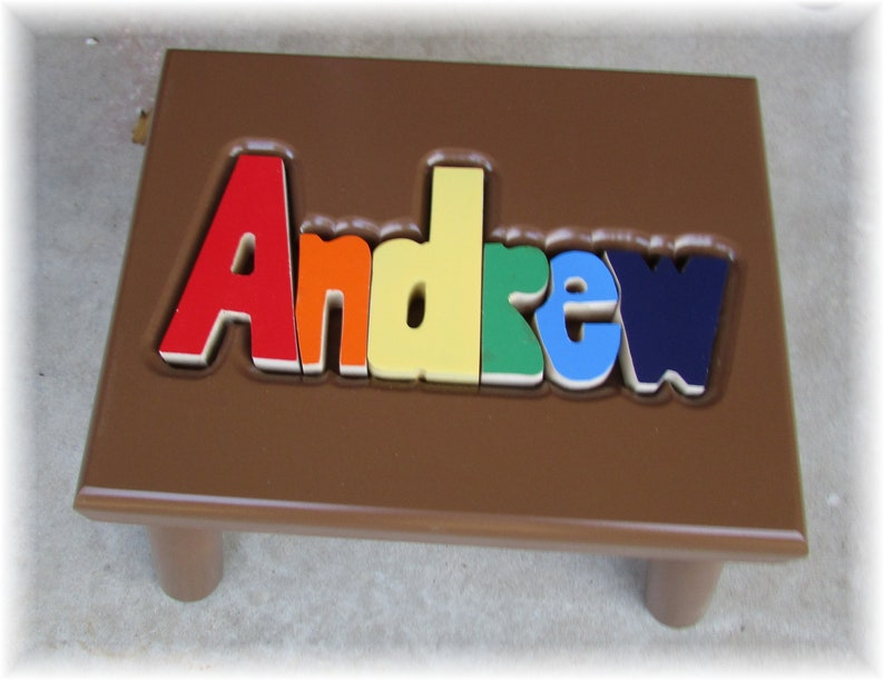 BROWN Name Puzzle Stools FREE Shipping image 0