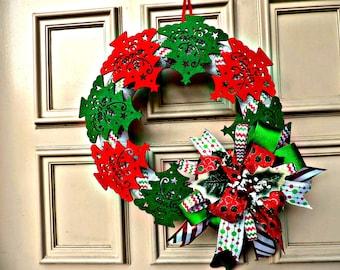 Felt Christmas Tree Wreath, Felt and Mesh Wreath, Red and Green Felt Christmas Tree Wreath, Front Door Wreath, Door Decoration, Home Decor