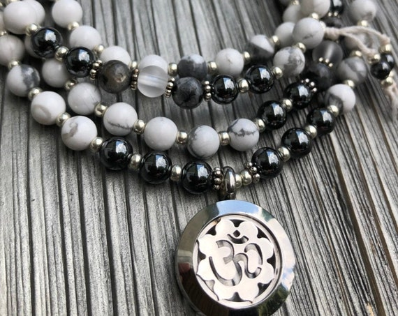 Om Mala Necklace, Essential Oil Locket Mala, White Stone Mala Necklace, Yoga Necklace, Meditation Beads, 108 Bead Mala, Prayer Beads