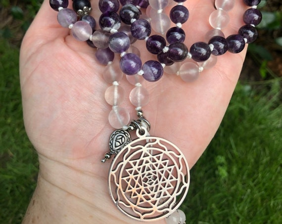 Sri Yantra Mala Necklace, Amethyst Mala, Mala Necklace, Meditation  Beads, Yoga Gift, Purple Mala, 108 Bead Mala, Prayer Beads
