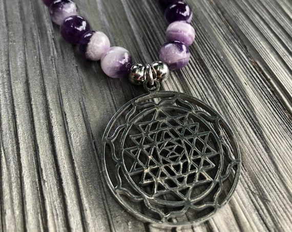 Sri Yantra Pendant, Sacred Geometry Necklace, Amethyst Necklace, Purple Crystal Necklace