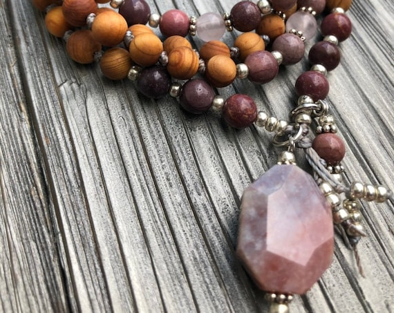 Cedarwood Mala 108 Mala  Necklace, Mookaite Mala, 108 Bead Mala, Meditation  Beads, Yoga Teacher Gift