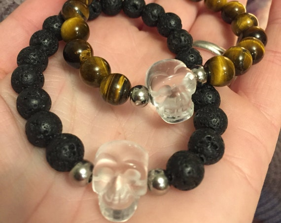 Crystal Skull Bracelet, Skull Bracelet, Skull Jewelry, Crystal Bracelet, Lava Stone Bracelet, Tigers Eye Bracelet, Secret Keeper