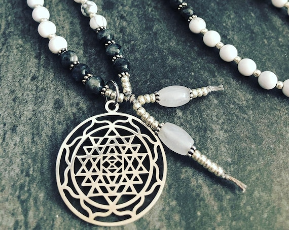 Sri Yantra Mala Necklace, Shri Yantra Pendant, White Mala Necklace, Kundalini, Feminine Mala Necklace, Goddess Necklace, Yoga Teacher Gift,