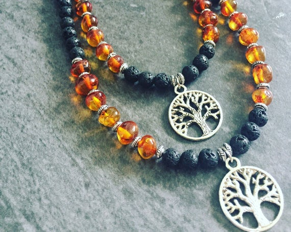 Tree Of Life Necklace, Lava Stone Necklace, Baltic Amber Necklace, Tree of Life Jewelry, Midwife Gift, Doula Gift