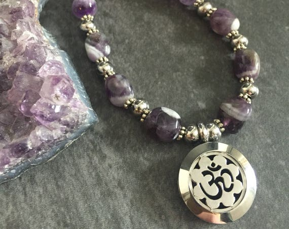 Amethyst Necklace, Om Necklace, Essential Oil Necklace, Yoga Necklace, Yoga Teacher Gift, Locket Necklace, Essential Oil Locket Necklace
