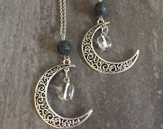 Cresent Moon Necklace, Moon Jewelry, Diffuser Necklace, Lava Stone Necklace, Quartz Necklace, Crescent Moon Charm Necklace