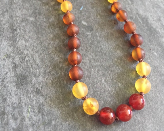 Raw Baltic Amber Necklace, Teething Necklace, Teething Anklet, Aries Necklace, Sagitarius Necklace, Leo Necklace, Fire Sign,  Fire Cracker
