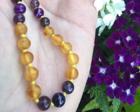 Raw Baltic Amber Necklace, Amber Necklace, Amethyst Amber Necklace, February Birthstone, Purple Haze, Templeadornment