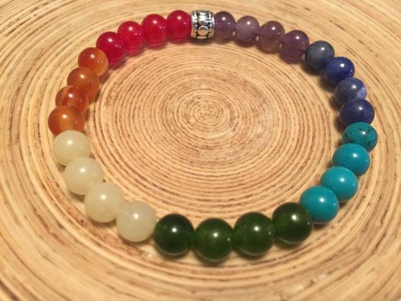 RAINBOW Bracelet, Chakra Bracelet, Stone Bracelet, Stacking Bracelet, Yoga Jewelry, Pride, LGBT,