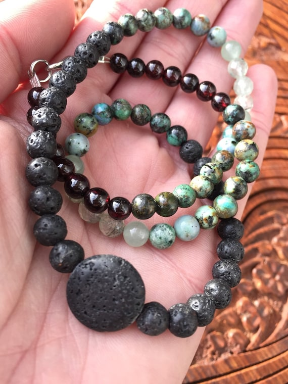 SPRING EQUINOX Essential Oil Diffusing Necklace, Diffuser Necklace, Diffusing Jewelry,Lava Stones, African Turquoise, Indian Agate,Prehnite