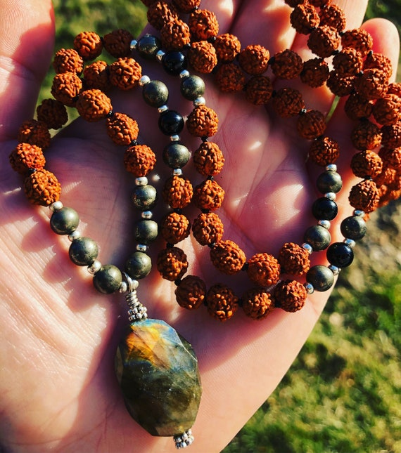 Rudraksha Mala Necklace, Labradorite Mala Necklace, Meditation Beads, 108 Bead Mala, Templeadornment, Knotted Mala