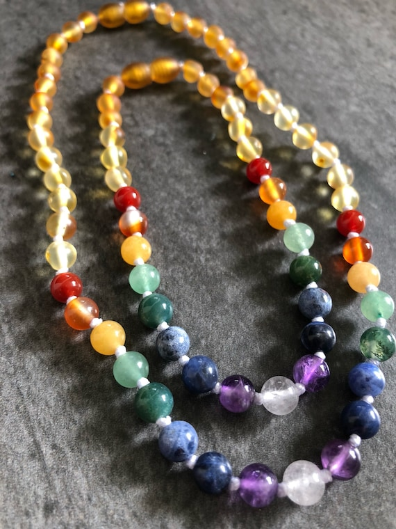 Rainbow Baby Necklace, Baltic Amber Teething Necklace, Teething Necklace, Teething Anklet, Baby Necklace, Toddler Necklace, Infant Loss