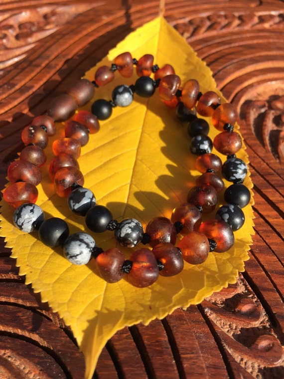 GROUNDED Baltic Amber Teething Necklace, Teething Anklet, Onyx, Snowflake Obsidian, Baby, Toddler, Mens Amber Necklace, Boys Amber Necklace