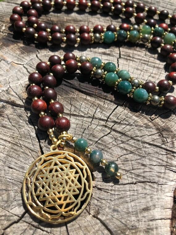 Sri Yantra Mala, Agate Mala, Green Mala, Wood Mala, Yoga Teacher Gift, Meditation Beads, 108 Mala, Prayer Beads