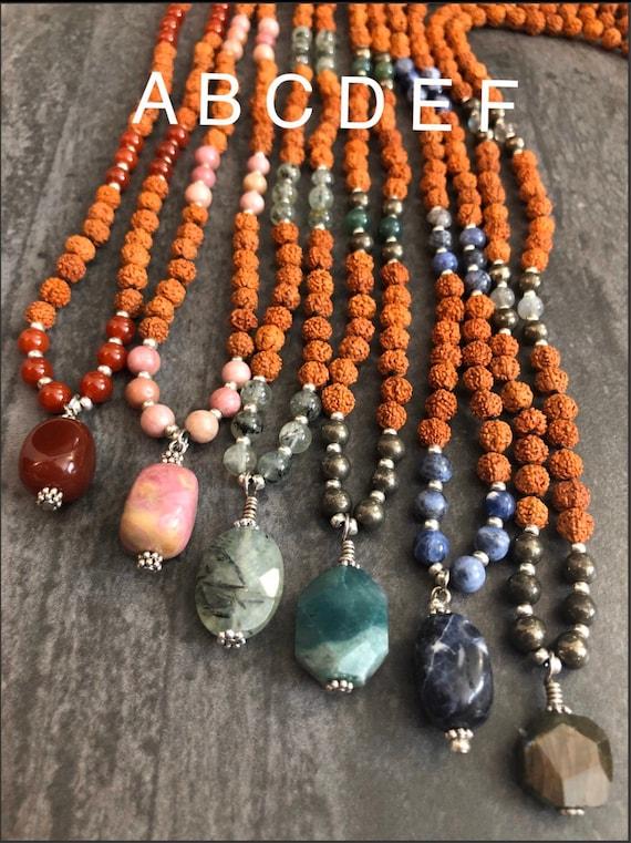 Rudraksha Mala, Hand-Knotted Mala Necklace, Prayer Beads, Yoga Gift, 6 mm Bead Mala, Labradorite Mala, Sodalite Mala, Carnelian Mala