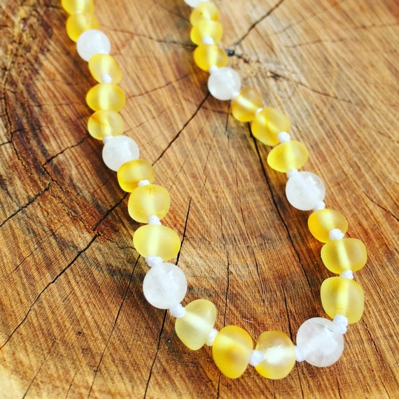 Baltic Amber Teething Necklace, Crystal Necklace, Amber and Quartz Teething Necklace, Teething Necklace, Teething Anklet, April Birthstone,