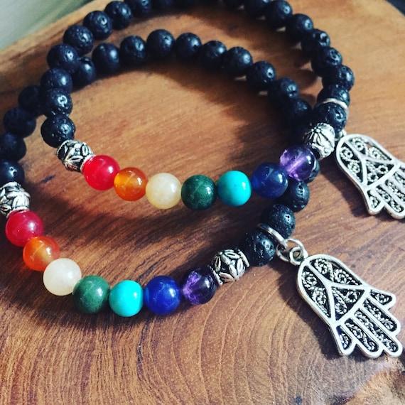 Rainbow Lava Stone Bracelet, Rainbow Bracelet, Chakra Bracelet, Diffuser Bracelet, Pride Bracelet, Hamsa Bracelet, Boho Bracelet