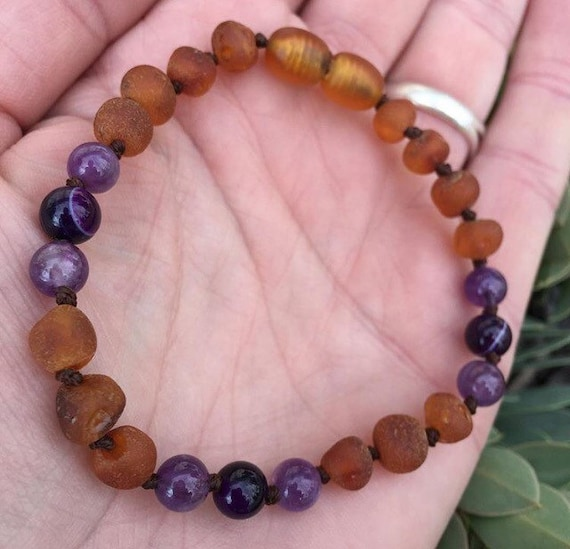 Raw Baltic Amber Baby Anklet, Amethyst Amber Anklet, Choose Your Length, Purple Haze