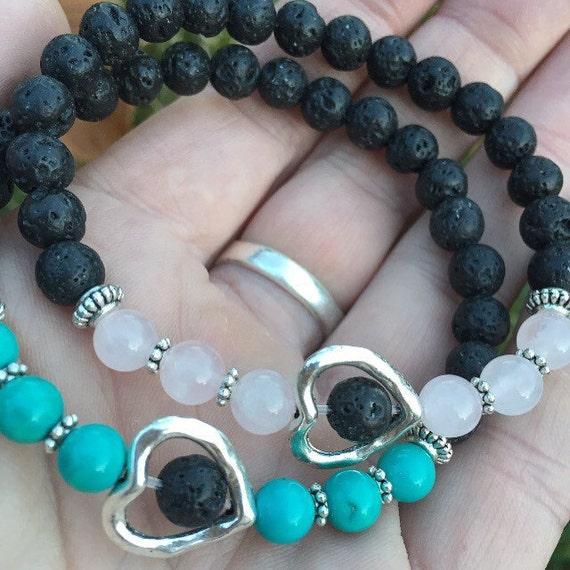 TRUE LOVE Essential Oil Diffuser Bracelet, Lava Stone Bracelet, Rose Quartz Bracelelet, Turquoise Bracelet, Valentine's Day Gift