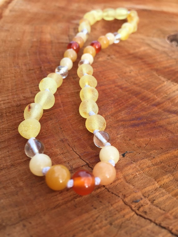 Raw Baltic Amber Necklace, Teething Necklace, Teething Anklet, Carnelian, Honey Jade, Citrine, You Are My Sunshine