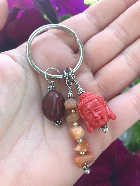 Buddha Keychain, Buddha Charm, Yoga Teacher Gift, Root Chakra, Charm Keychain, Zen Keychain Templeadornment,